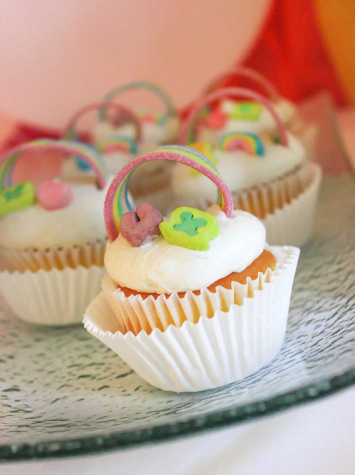"Lucky Charms Rainbow Cupcakes from a ""You're My Lucky Charm"" St. Patrick's Day Party on Kara's Party Ideas 