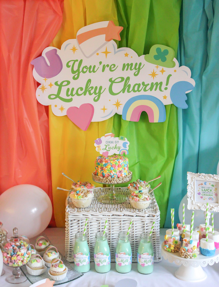 "Lucky Charms Sweet Table from a ""You're My Lucky Charm"" St. Patrick's Day Party on Kara's Party Ideas 