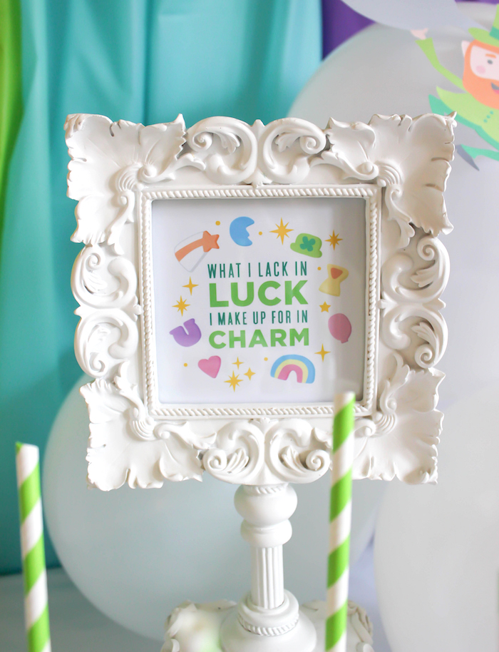 "Signage from a ""You're My Lucky Charm"" St. Patrick's Day Party on Kara's Party Ideas 