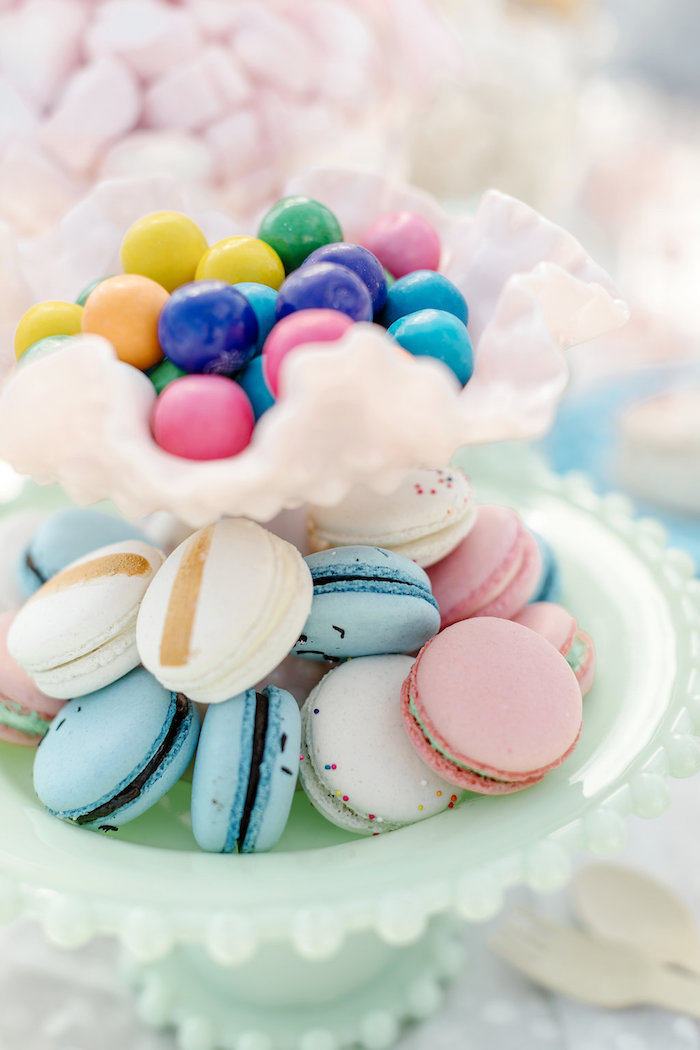 Macarons & Gumballs from a 60's Mod Inspired Ice Cream Bridal Shower on Kara's Party Ideas | KarasPartyIdeas.com (25)
