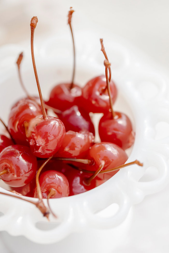 Bowl of Cherries from a 60's Mod Inspired Ice Cream Bridal Shower on Kara's Party Ideas | KarasPartyIdeas.com (22)