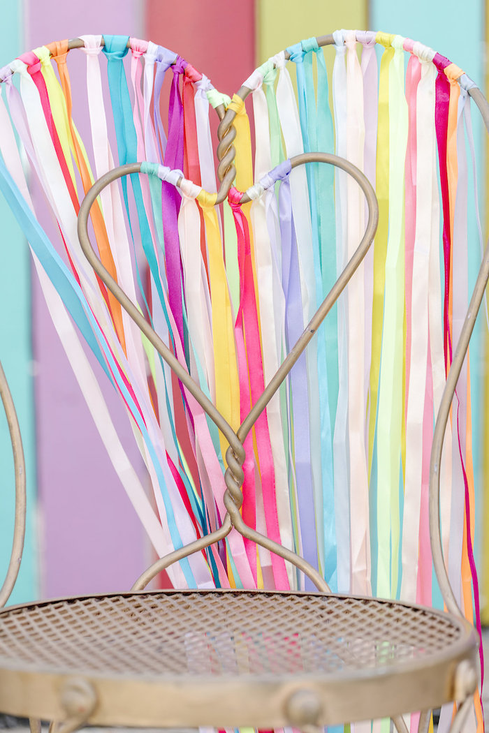 Rainbow Tassel Chair from a 60's Mod Inspired Ice Cream Bridal Shower on Kara's Party Ideas | KarasPartyIdeas.com (19)