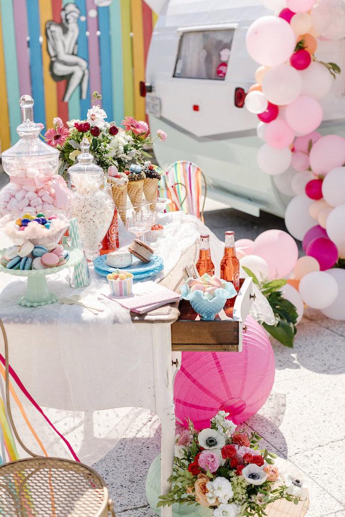 Dessert Table from a 60's Mod Inspired Ice Cream Bridal Shower on Kara's Party Ideas | KarasPartyIdeas.com (17)
