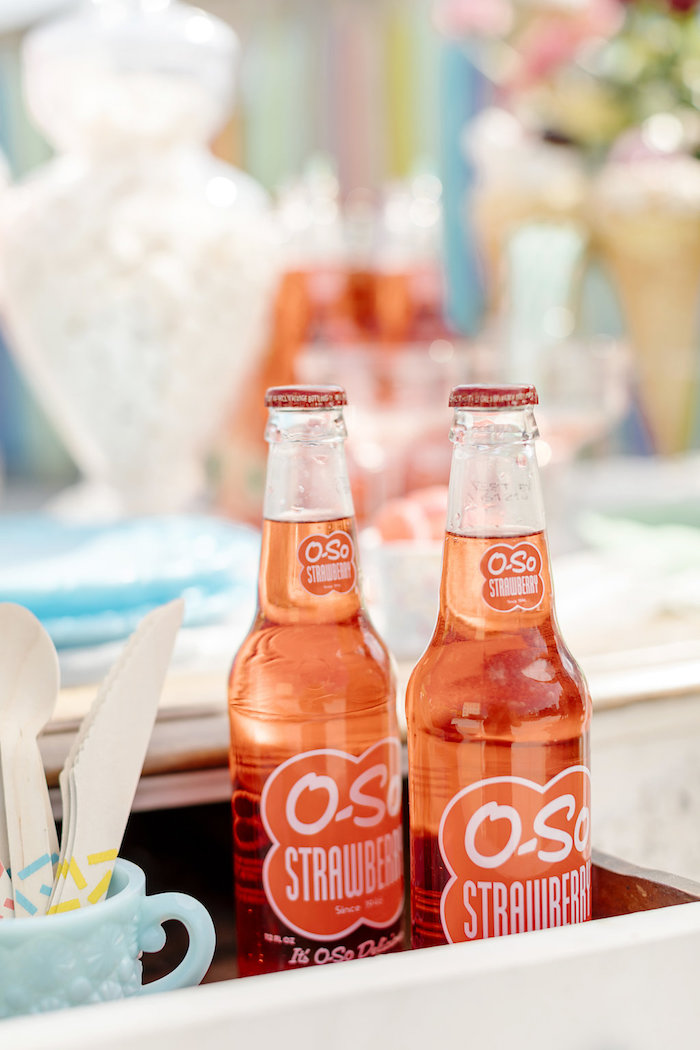 Drink Bottles from a 60's Mod Inspired Ice Cream Bridal Shower on Kara's Party Ideas | KarasPartyIdeas.com (35)