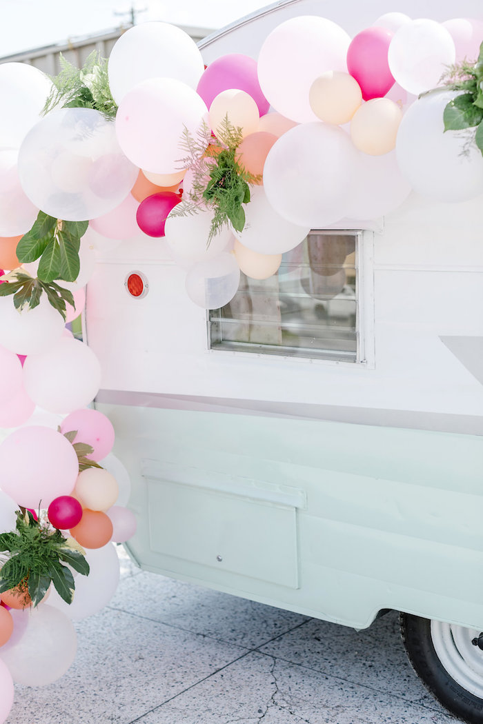 Balloon Installation from a 60's Mod Inspired Ice Cream Bridal Shower on Kara's Party Ideas | KarasPartyIdeas.com (13)