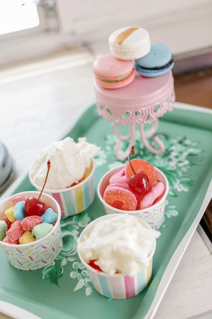 Ice Cream Tray from a 60's Mod Inspired Ice Cream Bridal Shower on Kara's Party Ideas | KarasPartyIdeas.com (11)