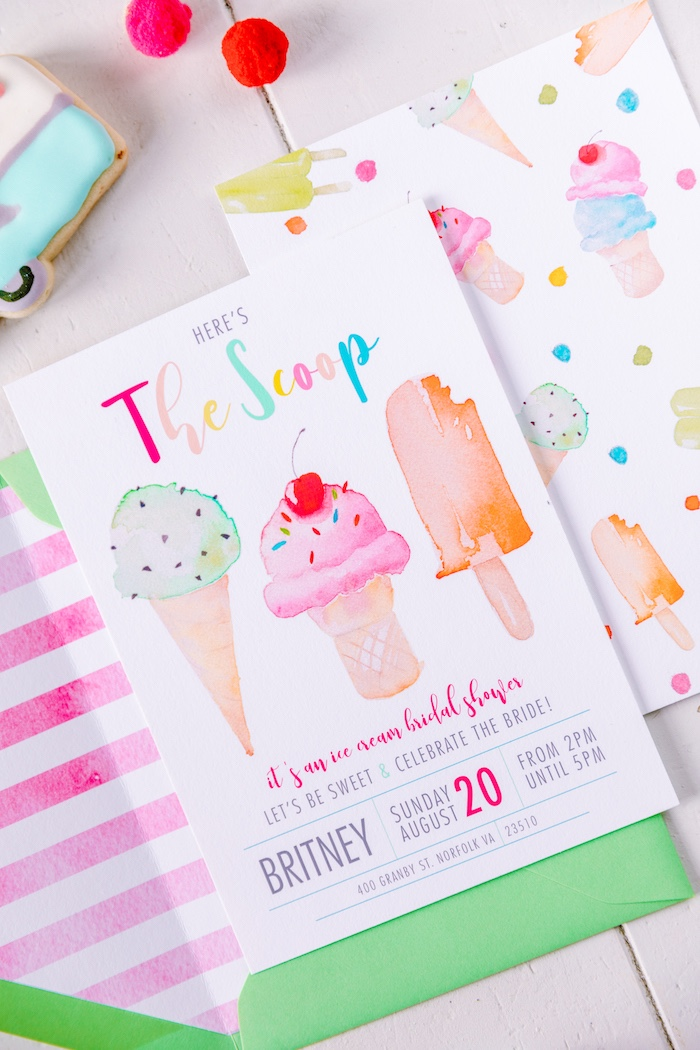 Ice Cream Party Invite from a 60's Mod Inspired Ice Cream Bridal Shower on Kara's Party Ideas | KarasPartyIdeas.com (7)