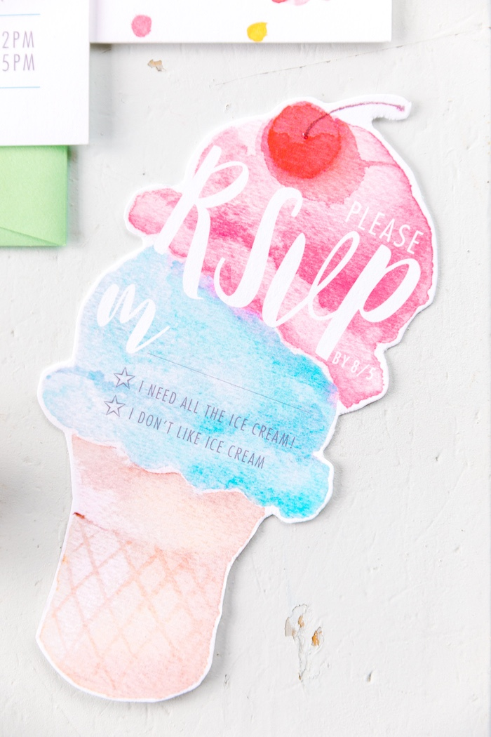 Ice Cream Cone Party Invite from a 60's Mod Inspired Ice Cream Bridal Shower on Kara's Party Ideas | KarasPartyIdeas.com (6)