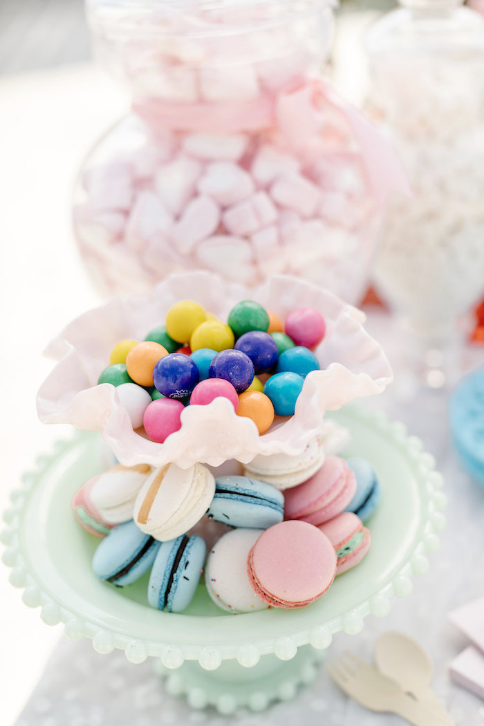 Gumballs & Macarons from a 60's Mod Inspired Ice Cream Bridal Shower on Kara's Party Ideas | KarasPartyIdeas.com (33)