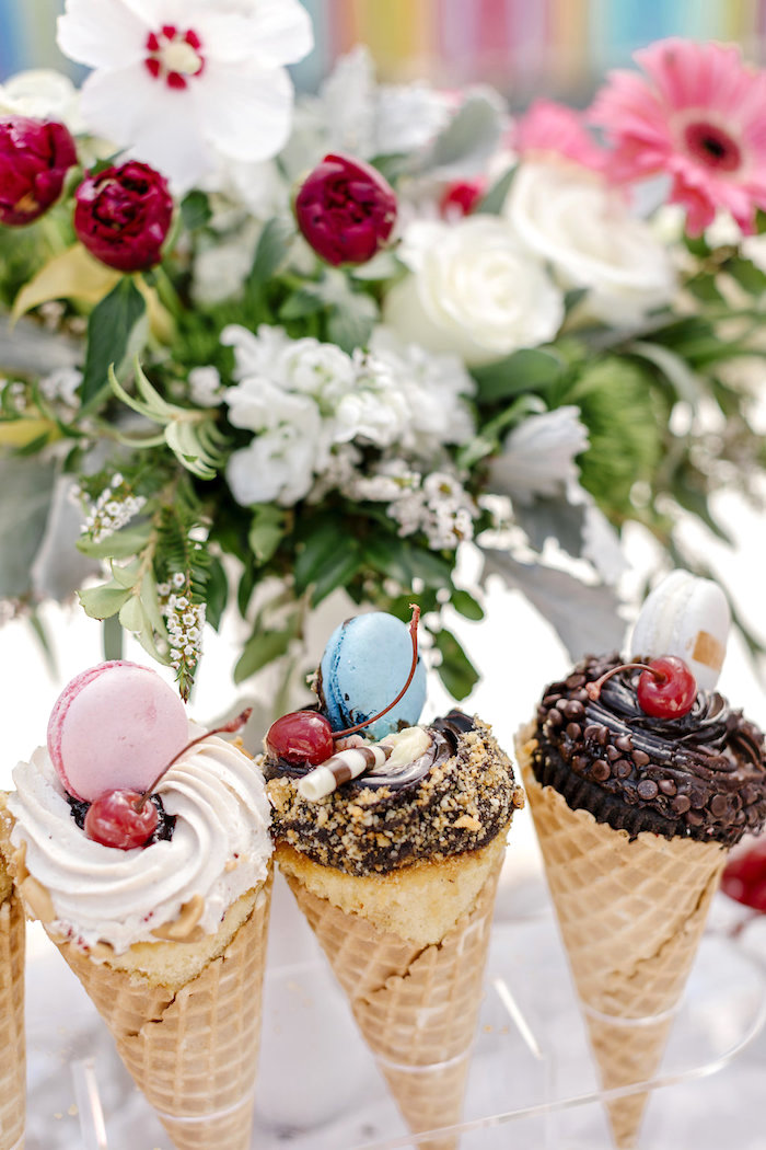 Gourmet Ice Cream Cones from a 60's Mod Inspired Ice Cream Bridal Shower on Kara's Party Ideas | KarasPartyIdeas.com (30)