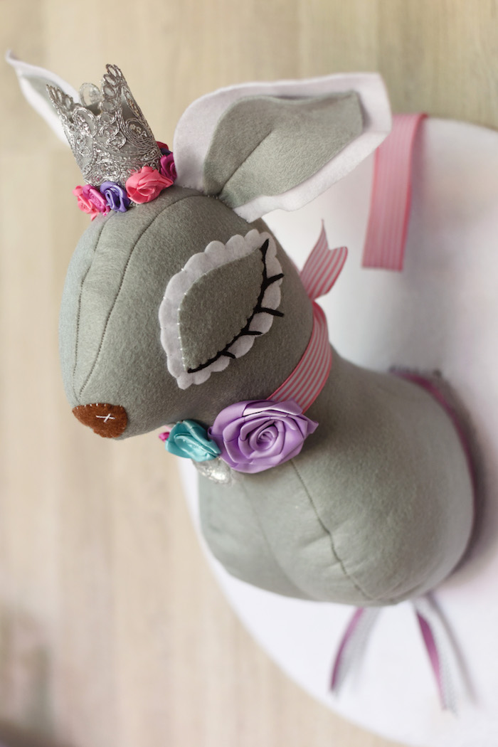 Felt Deer Wall Hanging from a Bambi + Girly Woodland Birthday Party on Kara's Party Ideas | KarasPartyIdeas.com (13)