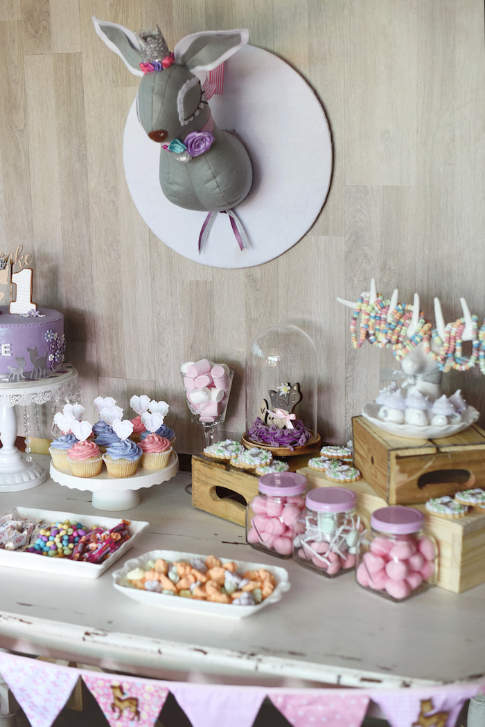 Dessert Table from a Bambi + Girly Woodland Birthday Party on Kara's Party Ideas | KarasPartyIdeas.com (9)