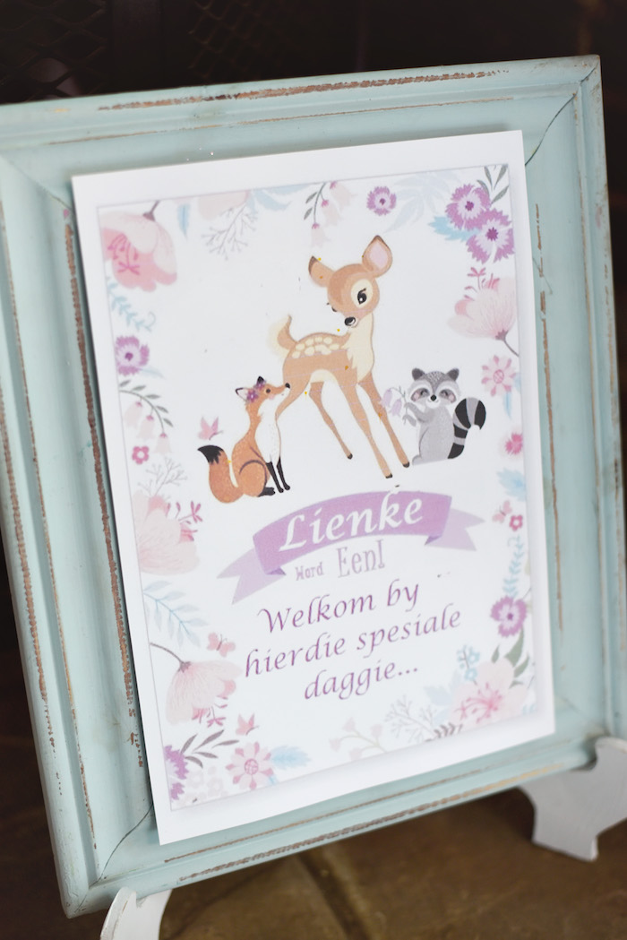 Signage from a Bambi + Girly Woodland Birthday Party on Kara's Party Ideas | KarasPartyIdeas.com (8)
