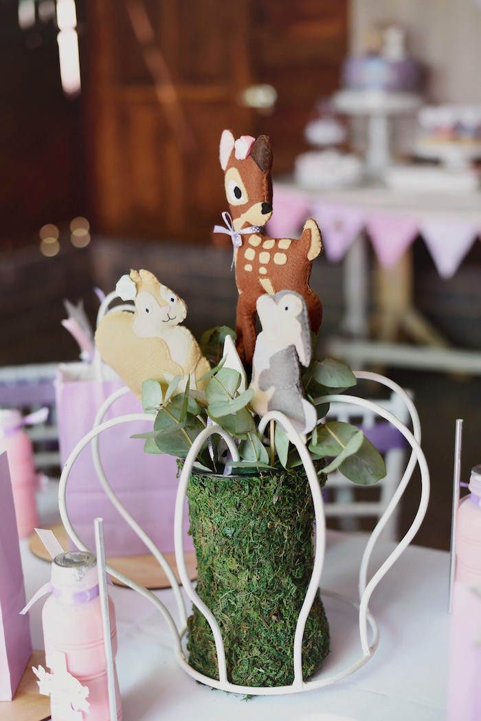 Bambi Themed Centerpiece from a Bambi + Girly Woodland Birthday Party on Kara's Party Ideas | KarasPartyIdeas.com (7)