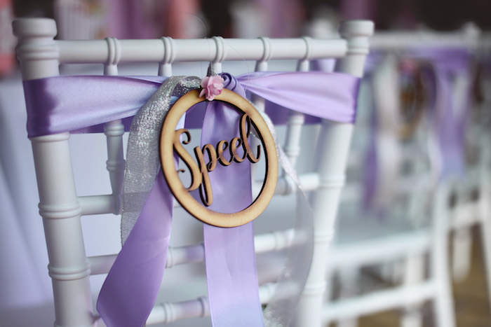 Custom Wood Name Place Setting + Chair Decoration from a Bambi + Girly Woodland Birthday Party on Kara's Party Ideas | KarasPartyIdeas.com (21)