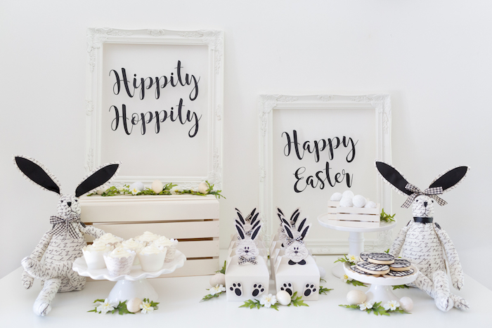 Black and White Easter Party from a Monochromatic Easter Party via Kara's Party Ideas | KarasPartyIdeas.com