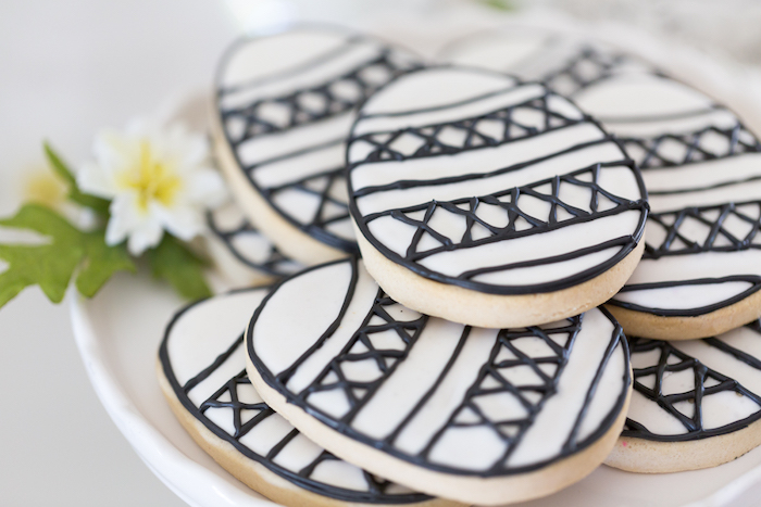 Black and White Egg Cookies from a Monochromatic Easter Party via Kara's Party Ideas | KarasPartyIdeas.com