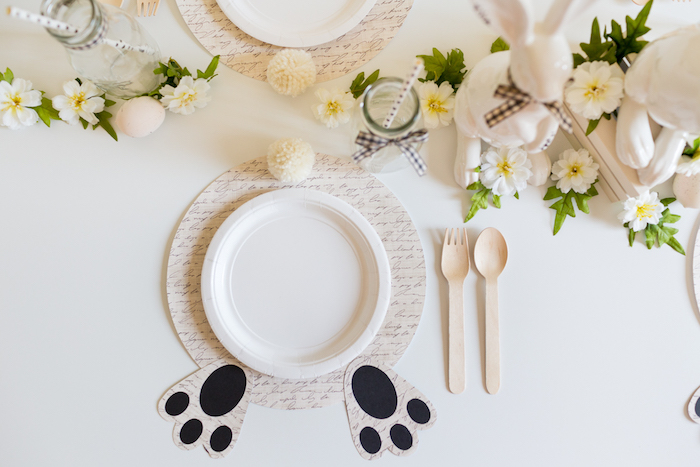 Bunny Bum Placemat + Table Setting from a Monochromatic Easter Party via Kara's Party Ideas | KarasPartyIdeas.com