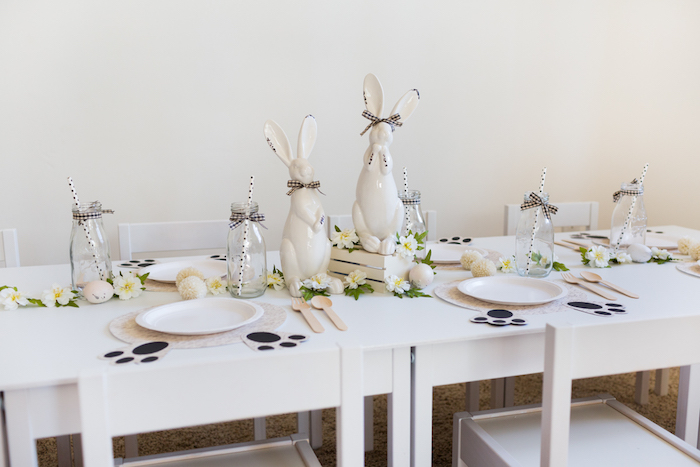 Easter Guest Table from a Monochromatic Easter Party via Kara's Party Ideas | KarasPartyIdeas.com