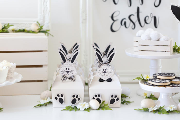 Bunny Gable Boxes from a Monochromatic Easter Party via Kara's Party Ideas | KarasPartyIdeas.com