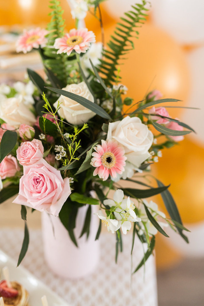 Pink + White Floral Arrangement from a Champagne Brunch Bridal Shower on Kara's Party Ideas | KarasPartyIdeas.com (22)