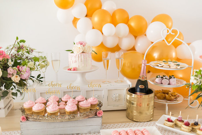 Cake + Brunch Table from a Champagne Brunch Bridal Shower on Kara's Party Ideas | KarasPartyIdeas.com (17)