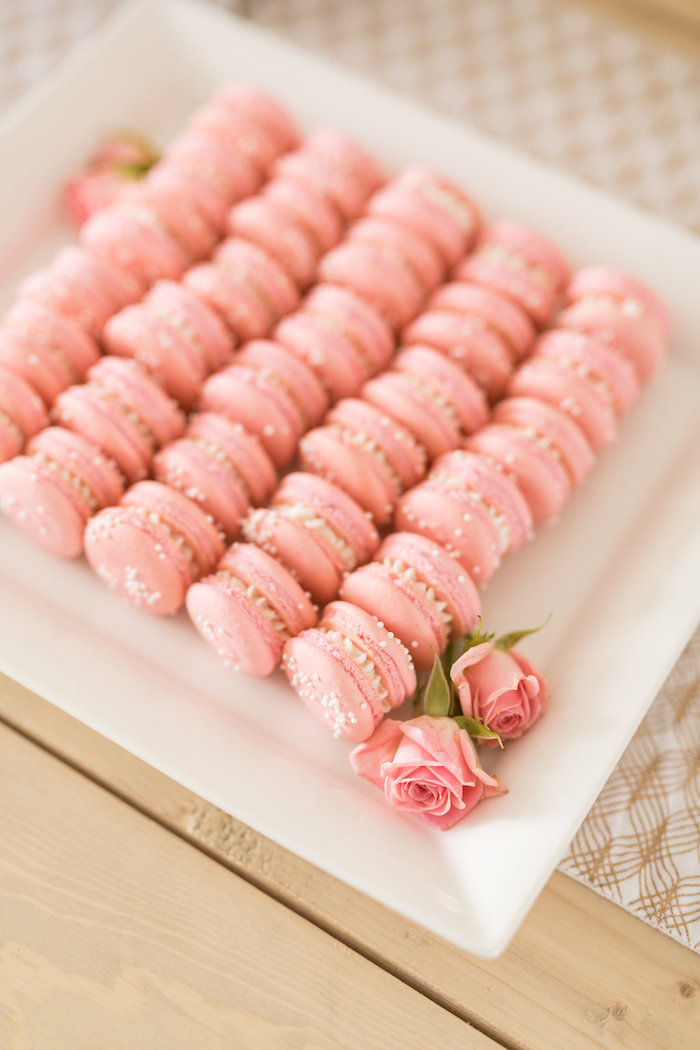 Pink Macarons from a Champagne Brunch Bridal Shower on Kara's Party Ideas | KarasPartyIdeas.com (16)