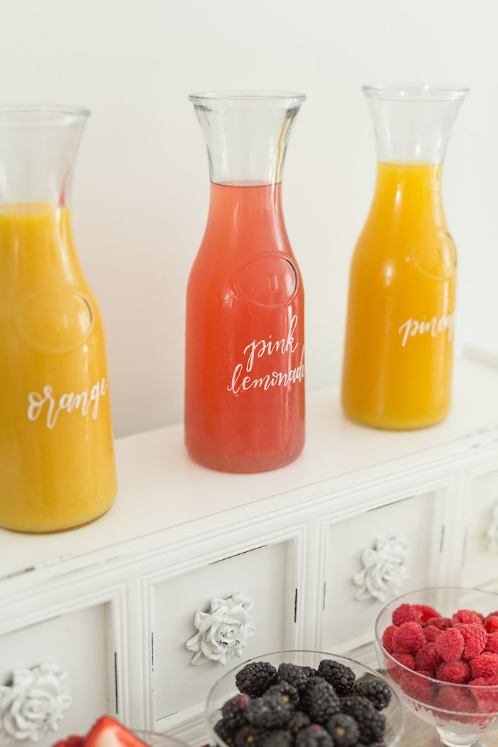 Juice Bottles from a Champagne Brunch Bridal Shower on Kara's Party Ideas | KarasPartyIdeas.com (14)