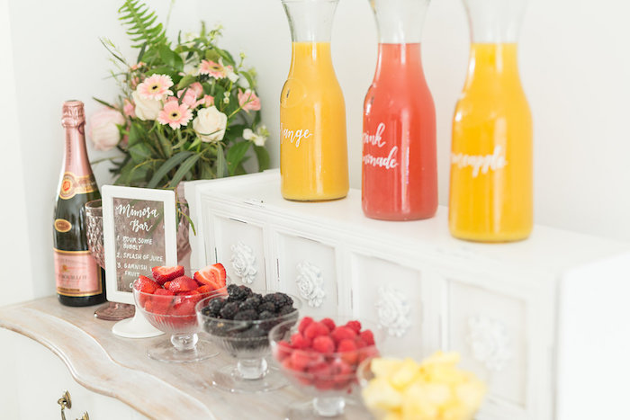 Mimosa Bar from a Champagne Brunch Bridal Shower on Kara's Party Ideas | KarasPartyIdeas.com (13)