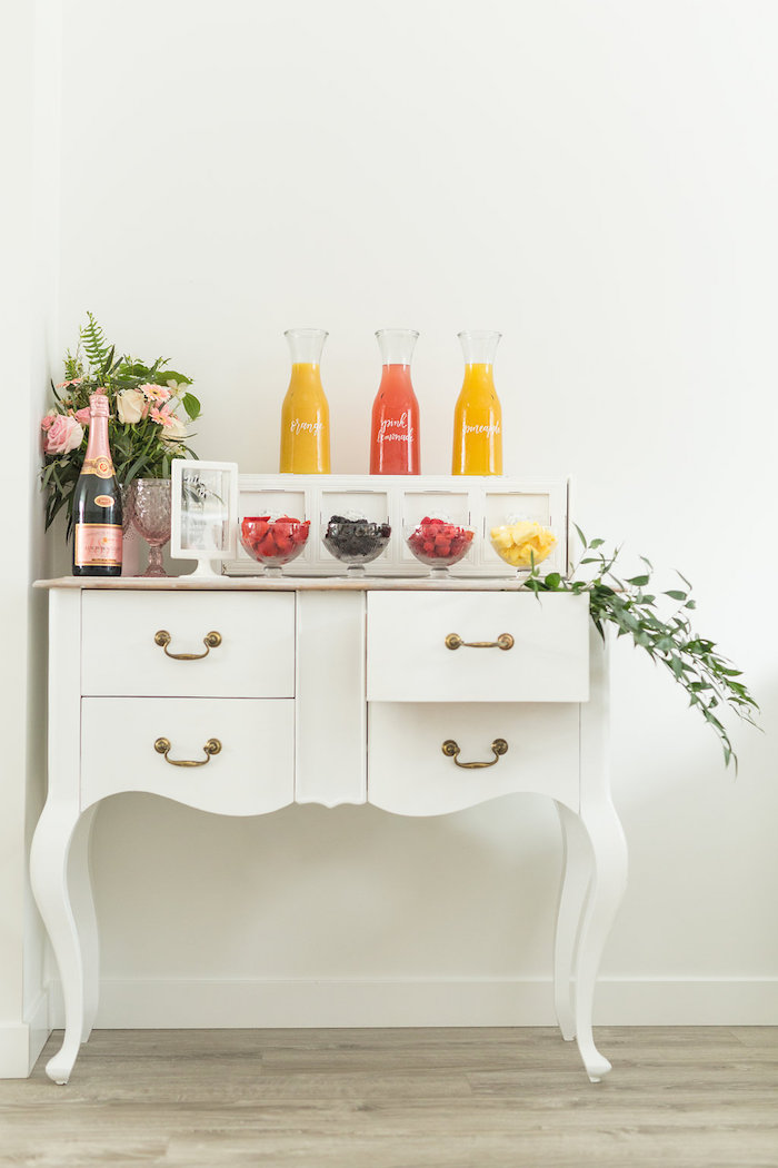 Mimosa Bar from a Champagne Brunch Bridal Shower on Kara's Party Ideas | KarasPartyIdeas.com (11)