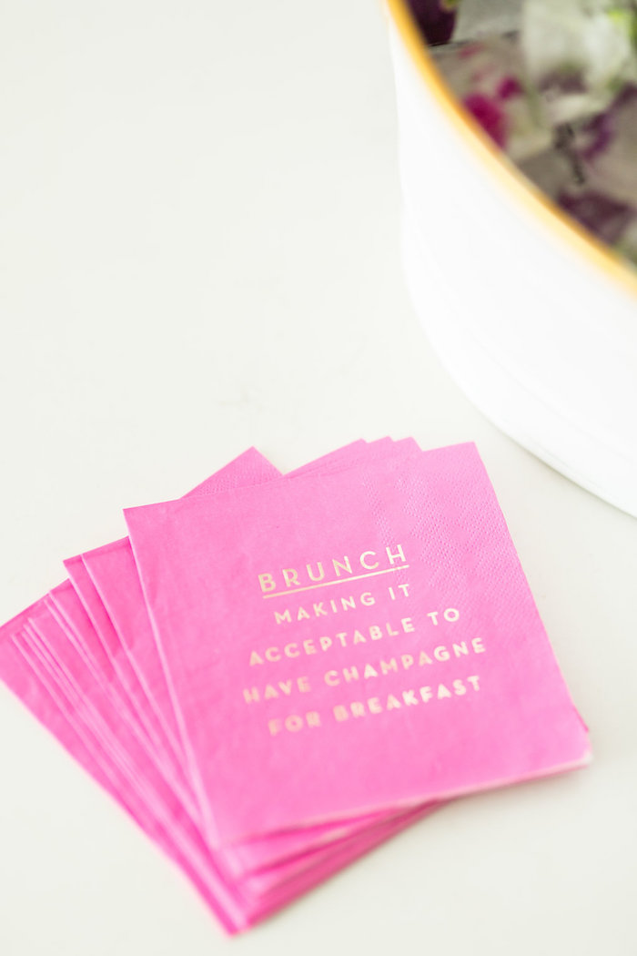 Customized Pink Napkins from a Champagne Brunch Bridal Shower on Kara's Party Ideas | KarasPartyIdeas.com (8)