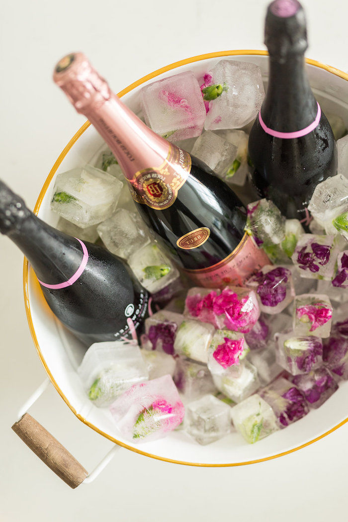 Champagne paired with Flower-filled Ice Cubes from a Champagne Brunch Bridal Shower on Kara's Party Ideas | KarasPartyIdeas.com (7)