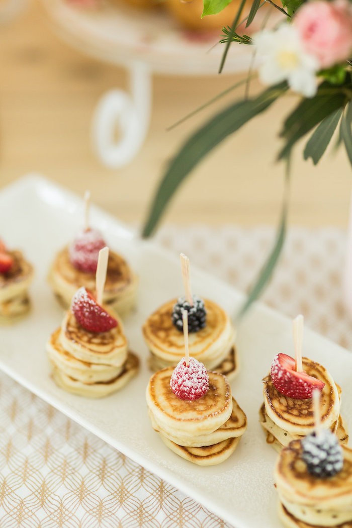 Pancake Skewers from a Champagne Brunch Bridal Shower on Kara's Party Ideas | KarasPartyIdeas.com (32)