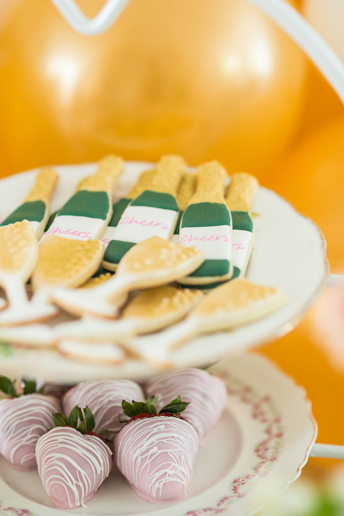 Champagne Bottle Cookies from a Champagne Brunch Bridal Shower on Kara's Party Ideas | KarasPartyIdeas.com (31)