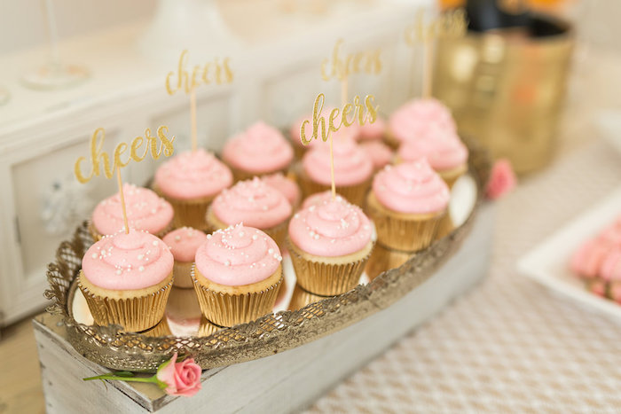 Cheers Cupcakes from a Champagne Brunch Bridal Shower on Kara's Party Ideas | KarasPartyIdeas.com (28)