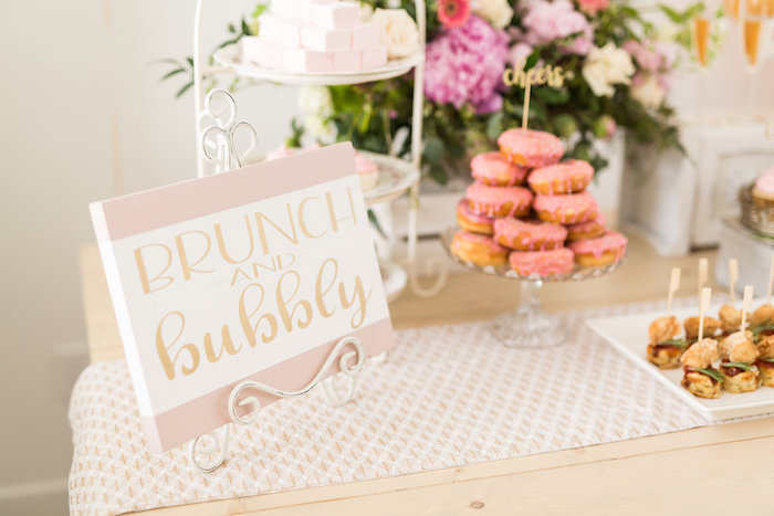 Brunch & Bubbly Dessert Table Detail + Signage from a Champagne Brunch Bridal Shower on Kara's Party Ideas | KarasPartyIdeas.com (25)