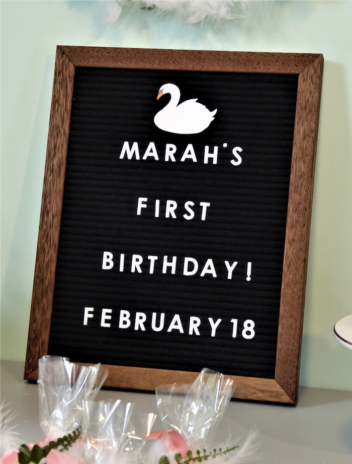 Swan Felt Letter Board from a from a Spring Swan Birthday Party via Kara's Party Ideas | KarasPartyIdeas.com
