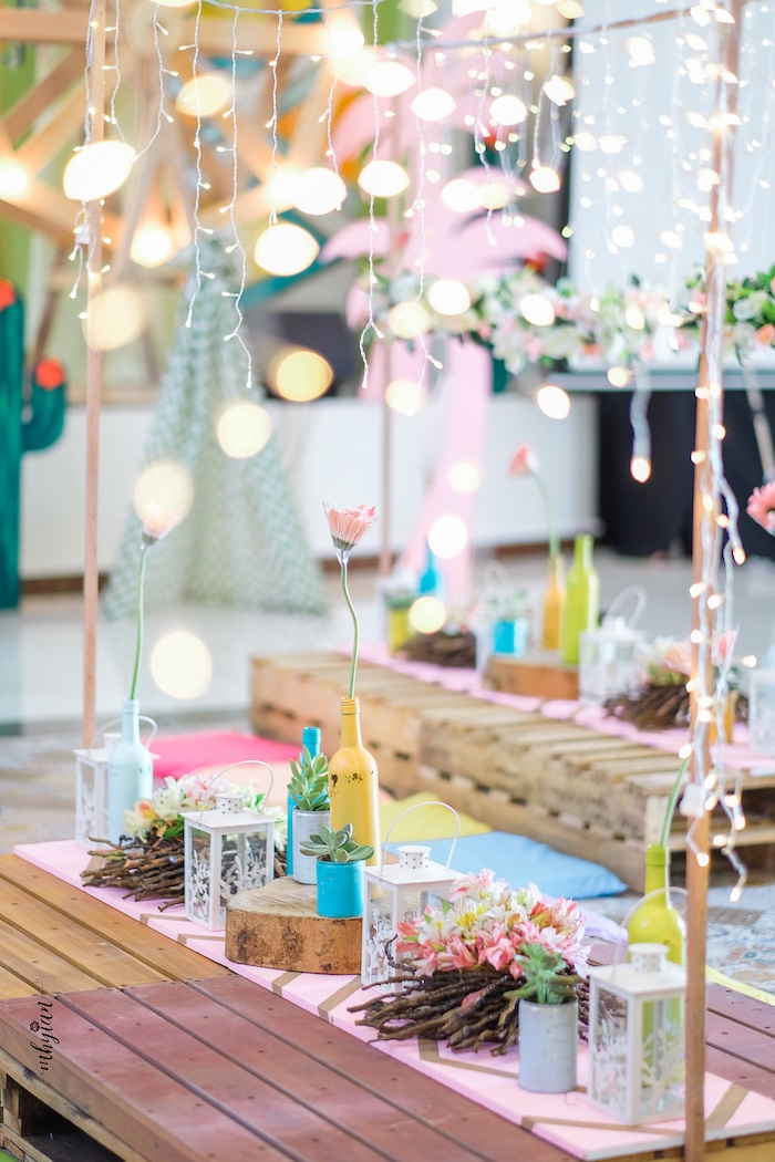 Pallet Guest Tables from a Coachella Inspired Boho Birthday Party on Kara's Party Ideas | KarasPartyIdeas.com (31)
