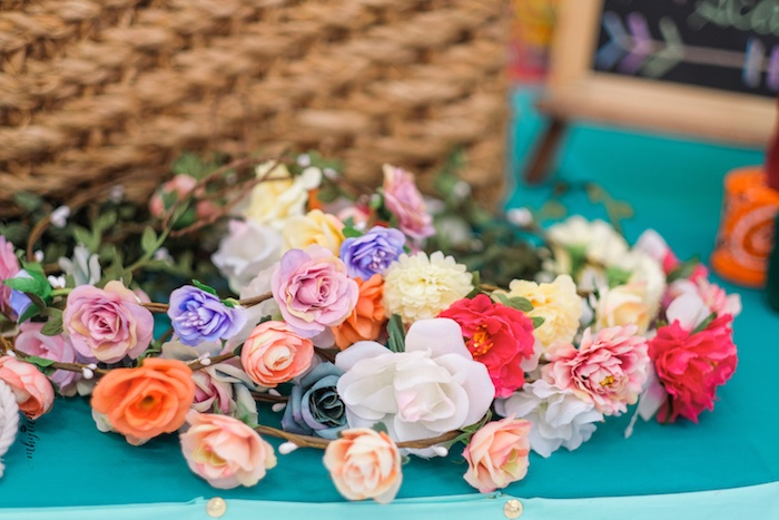 Floral Crown Favors from a Coachella Inspired Boho Birthday Party on Kara's Party Ideas | KarasPartyIdeas.com (28)