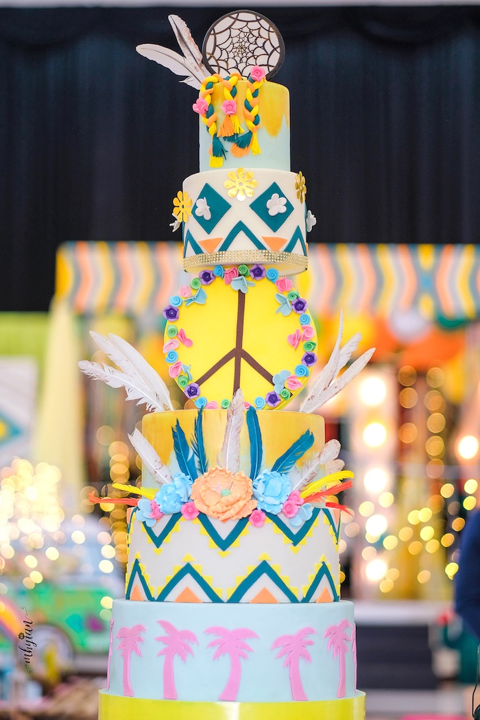 Coachella Cake from a Coachella Inspired Boho Birthday Party on Kara's Party Ideas | KarasPartyIdeas.com (26)