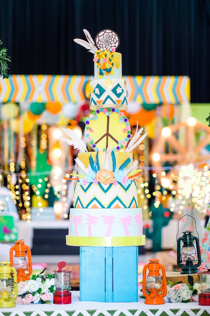 Coachella Cake Table from a Coachella Inspired Boho Birthday Party on Kara's Party Ideas | KarasPartyIdeas.com (25)