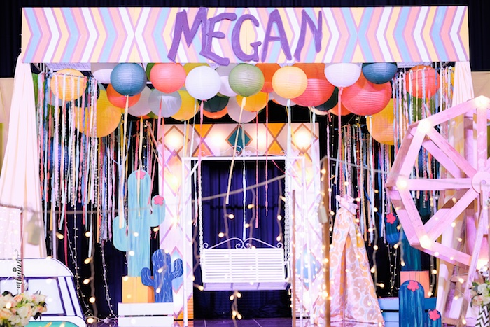 Boho Stage from a Coachella Inspired Boho Birthday Party on Kara's Party Ideas | KarasPartyIdeas.com (23)