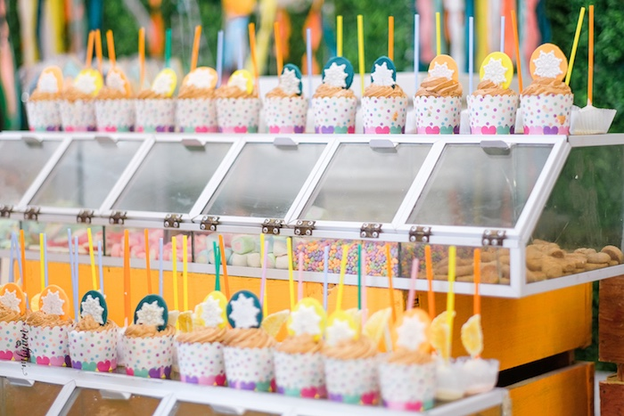 Cupcakes and Sweets in Bins from a Coachella Inspired Boho Birthday Party on Kara's Party Ideas | KarasPartyIdeas.com (17)