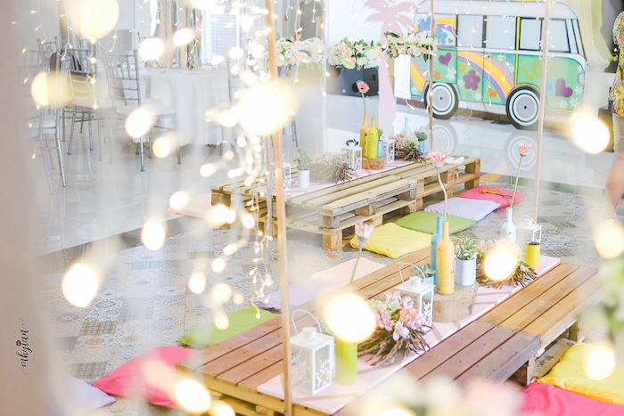 Pallet Board Guest Tables from a Coachella Inspired Boho Birthday Party on Kara's Party Ideas | KarasPartyIdeas.com (37)