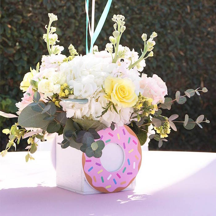 Donut Floral Arrangement + Table Centerpiece from a Donut Shoppe Birthday Party on Kara's Party Ideas | KarasPartyIdeas.com (9)