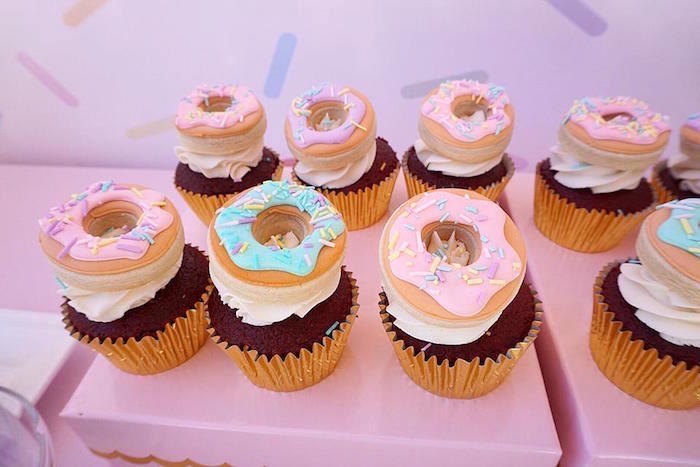 Donut Cookie-topped Cupcakes from a Donut Shoppe Birthday Party on Kara's Party Ideas | KarasPartyIdeas.com (6)
