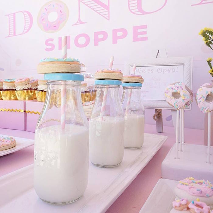 Milk Bottles topped with Donut Cookies from a Donut Shoppe Birthday Party on Kara's Party Ideas | KarasPartyIdeas.com (20)