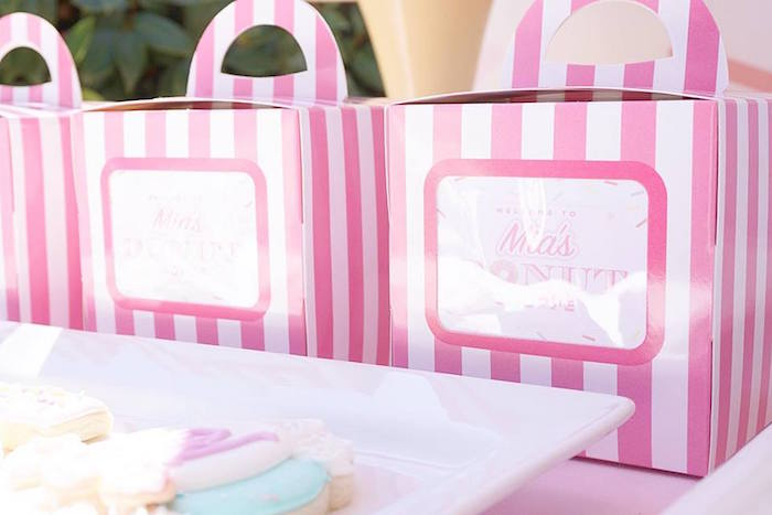 Pink Striped Favor Boxes from a Donut Shoppe Birthday Party on Kara's Party Ideas | KarasPartyIdeas.com (18)
