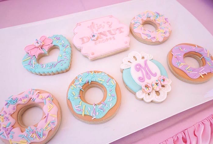 Donut Themed Cookies from a Donut Shoppe Birthday Party on Kara's Party Ideas | KarasPartyIdeas.com (15)