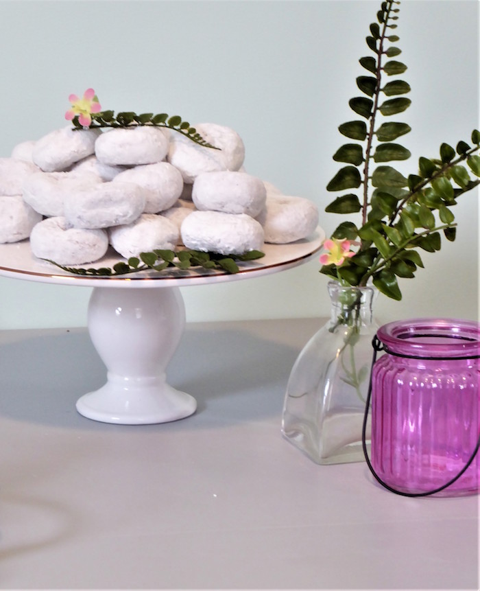 Donuts & Vases from a Spring Swan Birthday Party on Kara's Party Ideas | KarasPartyIdeas.com